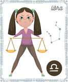 Zodiac sign Libra. Funny cartoon character. Royalty Free Stock Image