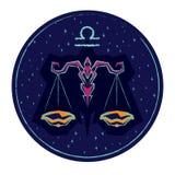 Zodiac sign Libra on night starry sky background. Royalty Free Stock Image