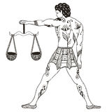 Zodiac sign - Libra. Young man holding scales.Vector illustratio Royalty Free Stock Images