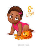 Zodiac sign Lion. Horoscope Sign Lion. African Americam child enjoys playing her Leo Toy Royalty Free Stock Images