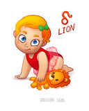 Zodiac sign Lion. Horoscope Sign Lion. Baby Girl enjoys playing her Leo Toy Stock Image