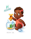 Zodiac sign PISCES. African Americam baby girl fishes in the aquarium using a net to fish. Horoscope sign PISCES. Royalty Free Stock Photography