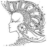 Zodiac sign Pisces black and white drawing girl with hair like a fin fish Iroquois. Figure drawn pen stock illustration