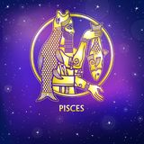 Zodiac sign Pisces. Character of Sumerian mythology. Gold imitation. Vector illustration. Background - the night star sky.Print, potser, t-shirt, card vector illustration