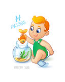 Zodiac sign PISCES. Cute baby boy fishes in the aquarium using a net to fish. Horoscope sign PISCES. Stock Photography