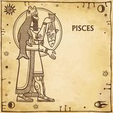 Zodiac sign Pisces. Drawing based on motives of Sumerian art. Full growth. Background - imitation of old paper, space symbols. The place for the text. Vector Royalty Free Stock Image