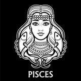 Zodiac sign Pisces. Fantastic princess, animation portrait. Royalty Free Stock Photos