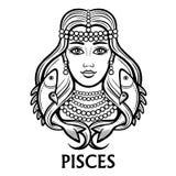 Zodiac sign Pisces. Fantastic princess, animation portrait. Royalty Free Stock Photo