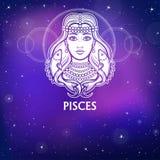 Zodiac sign Pisces. Fantastic princess, animation portrait. White drawing, background - the night stellar sky. Vector illustration stock illustration