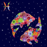 Zodiac sign Pisces with flowers fill over starry sky Royalty Free Stock Photos