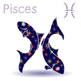 Zodiac sign Pisces stencil. Zodiac sign Pisces, hand drawn vector stencil with stylized stars isolated on the white background Royalty Free Stock Image