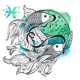 Zodiac sign Pisces.Horoscope circle.Watercolor Stock Photography