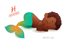 Zodiac sign PISCES. Horoscope sign PISCES. African Americam Little Mermaid Sleeps on the Seafloor. The child sees sweet dreams Stock Images