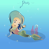 Zodiac sign pisces. Mermaid. Horoscope Stock Image