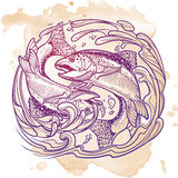 Zodiac sign - Pisces. Two fishes jumping from the water Royalty Free Stock Photos