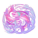 Zodiac sign - Pisces. Two fishes jumping from the water. sketch  on white background Stock Photo