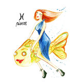 Zodiac sign of the Pisces, watercolor illustration on a white Stock Photo