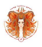 Zodiac sign. Portrait of a woman. Sagittarius. Zodiac sign. Hand drawn portrait of a beautiful woman. Vector illustration of Sagittarius zodiac sign Royalty Free Stock Photos