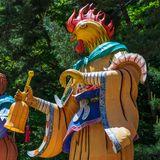 Zodiac Sign: Rooster Statue. Paper lantern of astrological sign in a buddhist temple in South Korea. Guinsa, Danyang Region, South. Guinsa Temple, located below stock photo