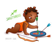 Zodiac sign SAGITTARIUS. African American kid pokes a shot at a target. Horoscope sign SAGITTARIUS. Little babygirl. Arrows, bow a Royalty Free Stock Image