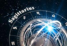 Zodiac Sign Sagittarius And Armillary Sphere On Black Background. 3D Illustration Royalty Free Stock Photos