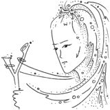 Zodiac sign Sagittarius black and white drawing girl with a slingshot. Figure drawn pen stock illustration