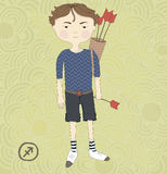 Zodiac sign Sagittarius. The boy with the arrows.  Stock Photo