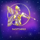 Zodiac sign Sagittarius. Character of Sumerian mythology. Gold imitation. Vector illustration. Background - the night star sky.Print, potser, t-shirt, card royalty free illustration