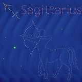 Zodiac sign Sagittarius contour on the starry sky Royalty Free Stock Photo