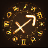Zodiac sign Sagittarius. In fire-show style on horoscope circle background. Circle with signs of zodiac and constellations.Vector illustration Royalty Free Stock Image