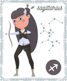 Zodiac sign Sagittarius. Funny cartoon character. Stock Photos