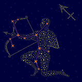 Zodiac sign Sagittarius over starry sky Stock Photos