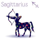Zodiac sign Sagittarius stencil. Zodiac sign Sagittarius, hand drawn vector stencil with stylized stars isolated on the white background Stock Images
