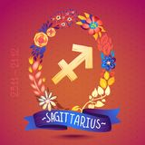 Zodiac sign SAGITTARIUS, in a sweet floral wreath. Horoscope sign, flowers, leaves and ribbon Royalty Free Stock Images