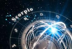 Zodiac Sign Scorpio And Armillary Sphere On Black Background. 3D Illustration Stock Photo