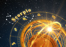 Zodiac Sign Scorpio And Armillary Sphere On Blue Background. 3D Illustration Stock Photography