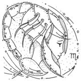 Zodiac sign Scorpio black and white drawing profile girl in a space helmet in the shape of a scorpion. Figure drawn pen vector illustration