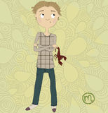Zodiac sign Scorpio. A boy with a scorpion in his  Royalty Free Stock Image