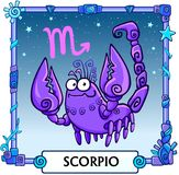 Zodiac sign Scorpio. Fantastic animation animal. A background - the star sky, a decorative frame. Vector illustration Stock Image