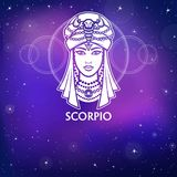 Zodiac sign Scorpio .   Fantastic princess, animation portrait. White drawing, background - the night stellar sky. Stock Photography