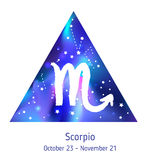 Zodiac sign Scorpio over hipster triangle with space galactic. Starry texture inside. Night sky full of stars. Vector galaxy design for horoscope predictions Stock Photos