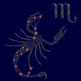Zodiac sign Scorpio over starry sky Stock Images