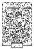 Zodiac sign Scorpio or Scorpion with carnation flower and lucky numbers. Hand drawn fantasy graphic vector illustration in frame. Black and white doodle mystic Stock Images