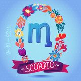 Zodiac sign SCORPIO, in a sweet floral wreath. Horoscope sign, flowers, leaves and ribbon Stock Images