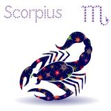 Zodiac sign Scorpius stencil. Zodiac sign Scorpius, hand drawn vector stencil with stylized stars isolated on the white background Royalty Free Stock Photos