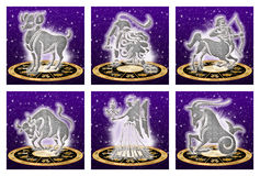 Zodiac sign set (01). Isolated signs of the zodiac and the zodiac wheel. set of six. white background for easy clipping Royalty Free Stock Image
