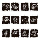 Zodiac sign silhouettes, set of horoscope symbols Royalty Free Stock Photos