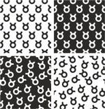 Zodiac Sign Taurus Aligned & Random Seamless Pattern Set Stock Photos