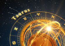 Zodiac Sign Taurus And Armillary Sphere On Blue Background. 3D Illustration Stock Photos