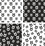 Zodiac Sign Taurus Big & Small Aligned & Random Seamless Pattern Set Royalty Free Stock Images